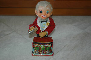 VINTAGE TIN LITHO ROSKO TOY BARTENDER 1960s JAPAN