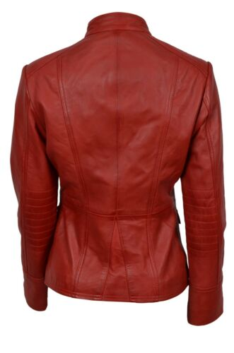 Party Nappa Leather Italian Military Ladies Design Style Real Luxury Jacket Red a5HApwq