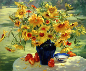 Canvas-Print-Sunflower-Still-Life-Oil-painting-Picture-Printed-on-canvas-P108