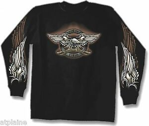 T-Shirt-ML-LIVE-FREE-EAGLE-Taille-L-Style-BIKER-HARLEY