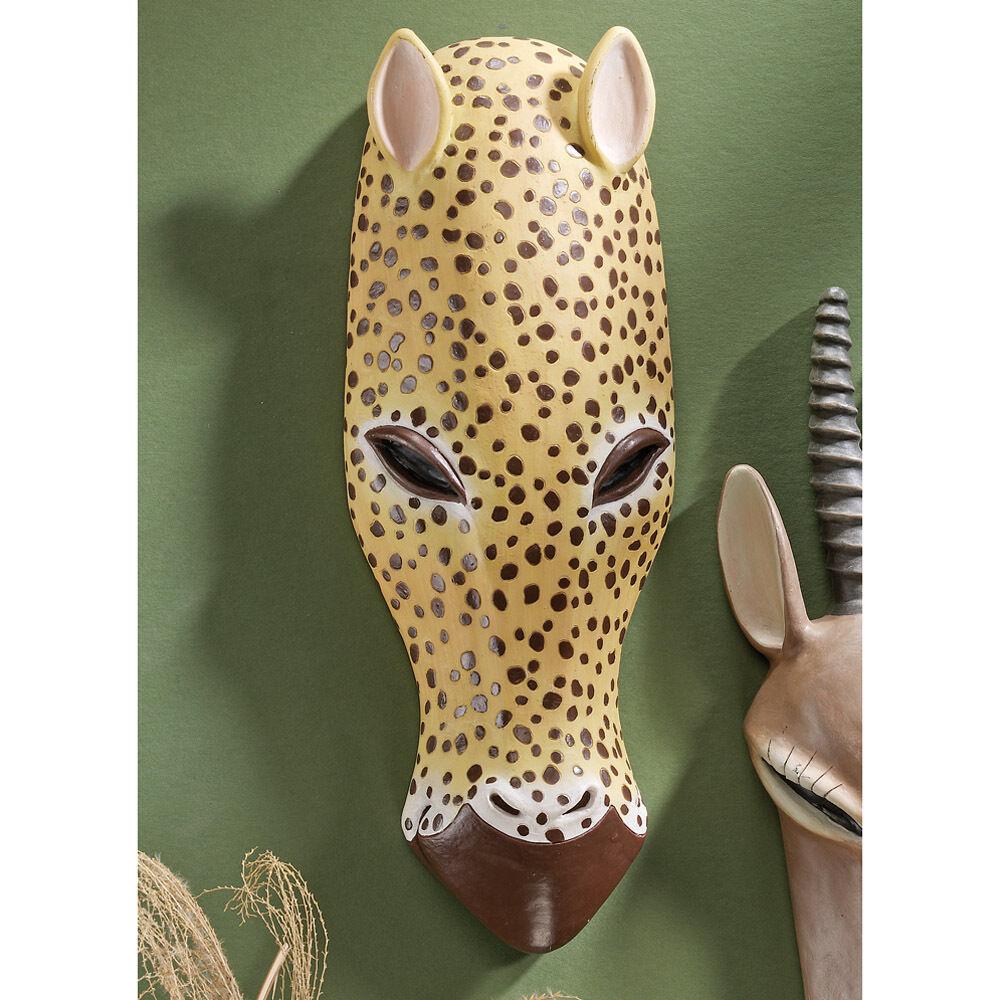 13  Stylized African Tribal Designed Animal Wall Mask Sculpture  Jaguar Mask
