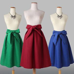Women-Hepburn-High-Waist-Ball-Gown-Flared-Skater-Pleated-A-Line-Swing-Midi-Skirt