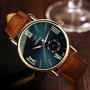 Fashion-Men-039-s-Date-Leather-Stainless-Steel-Sports-Quartz-Noctilucent-Wrist-Watch