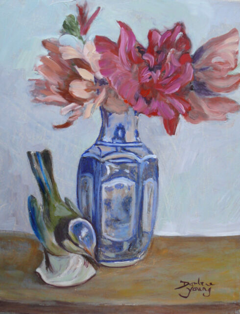 Blue Bird and Peonies,  8x10, Oil , Darlene Young Canadian Artist