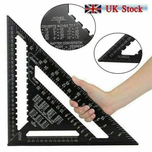 """7/""""//12/"""" Roofing Speed Square Aluminium Rafter Angle Measuring Triangle Guide Tool"""