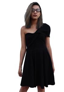 New-Topshop-Black-Jersey-Drape-One-Shoulder-Fit-amp-Flare-Skater-Dress-RRP-55-6-14