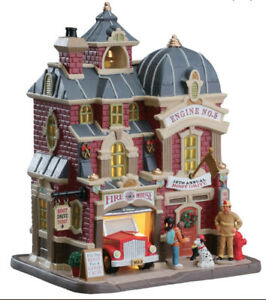 LEMAX -BOOT DRIVE AT THE FIREHOUSE -Holiday Village /Train -Lighted Building