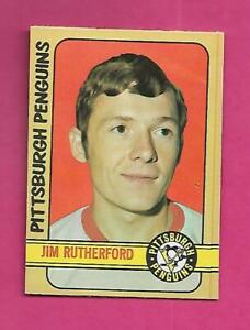 1972-73-OPC-15-PENGUINS-JIM-RUTHERFORD-GOALIE-ROOKIE-NRMT-CARD-INV-C9398