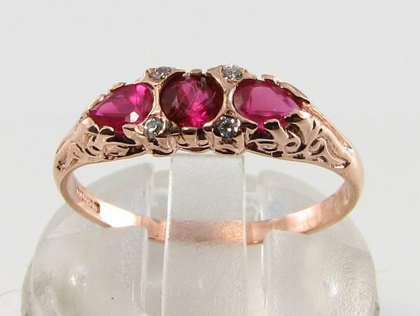DAINTY 9CT 9K pink gold RUBY  DIAMOND ETERNITY ART DECO INS RING FREE SIZE