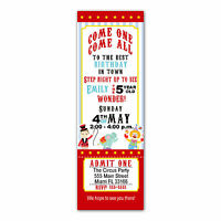30 Ticket Invitations Circus Kids Birthday Party Personalized