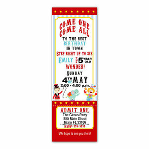 Image Is Loading 30 Ticket Invitations Circus Carnival Kids Birthday Party