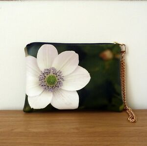 Clutch-Bag-Hand-Floral-Wedding-Strap-Faux-Leather-Rose-Chain-Handmade-Pouch