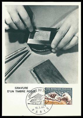 Fein France Mk 1966 Journee Timbre Gravur Engraving Maximumkarte Maxi Card Mc Cm Ae51 Maximumkarten