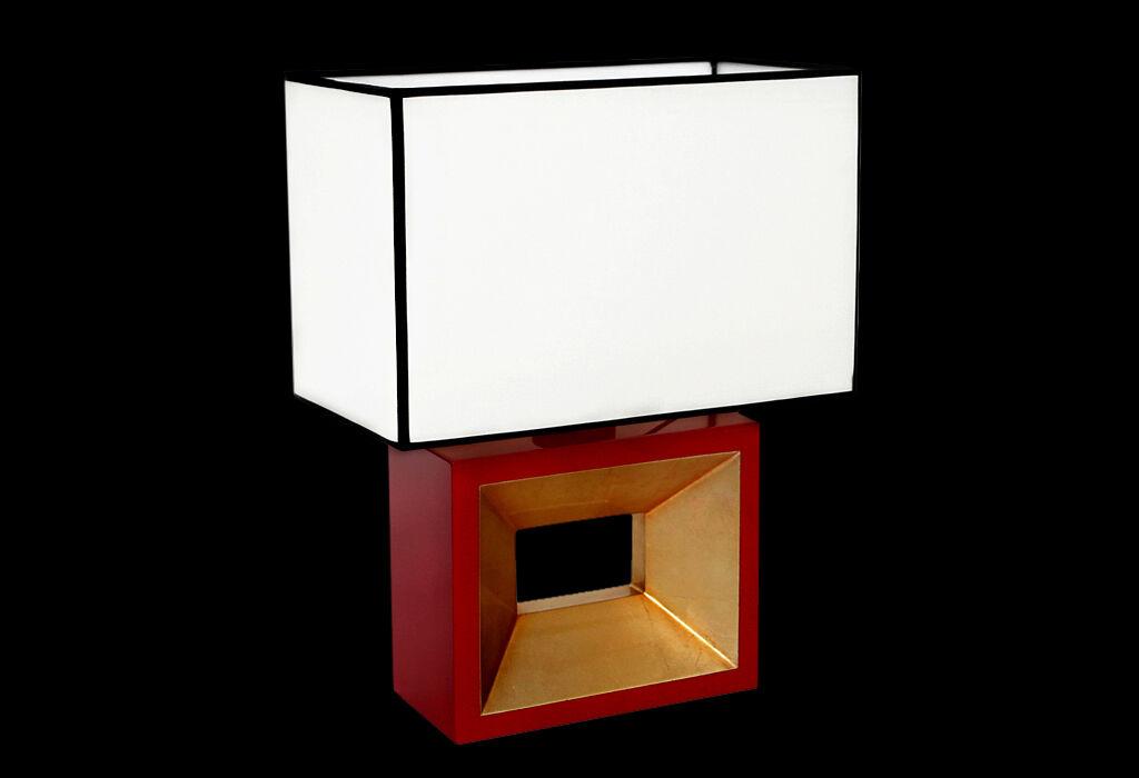 Diseño Lámpara Mesa Luz Laqueado   Rojo   Oro Negro Plata Lámpara cfddf4
