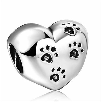 925 sterling silver GOLD OPENWORK HEART charm bead fits european bracelet Bangle