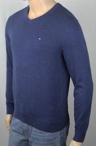 Details zu Tommy Hilfiger Dunkelblau V Ausschnitt Weiche Baumwolle Pullover Nwt