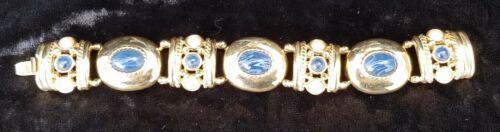 Rare Vintage Joan Rivers Pearl Blue Glass Gold Ton