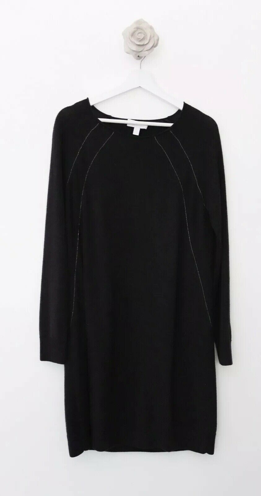 Ladies White Company Jumper Dress Charcole Grey Size 14 Long Sleeve