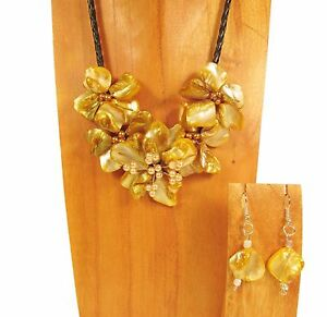 16 Handmade Golden Yellow Flower Shell and Seed Bead Necklace and Earring Set