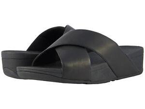 39dfc0a64 Women FitFlop Lulu Cross Slide Sandal Leather K04-001 Black 100 ...
