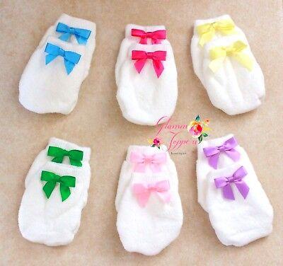 Set of 6 Newborn Baby Girl scratch guard mittens Infant girl fuschia bow mittens