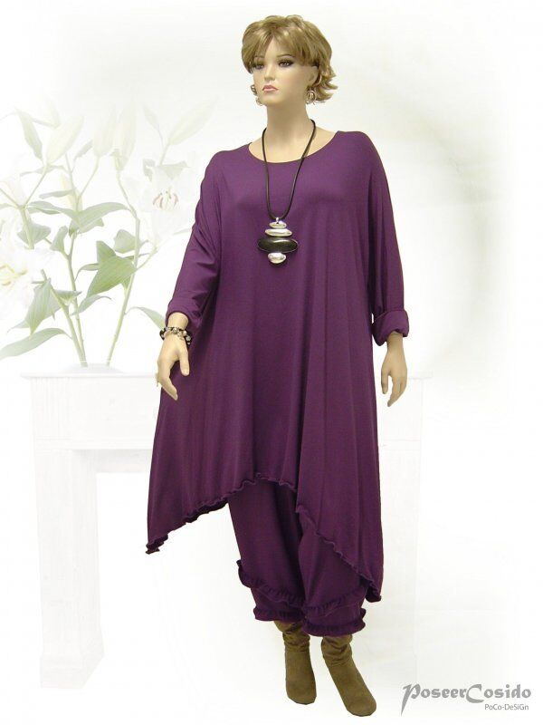 PoCo DeSiGn LAGENLOOK  Tunika Long-Shirt Kleid Dream lila L-XL-XXL-XXXL 44-58