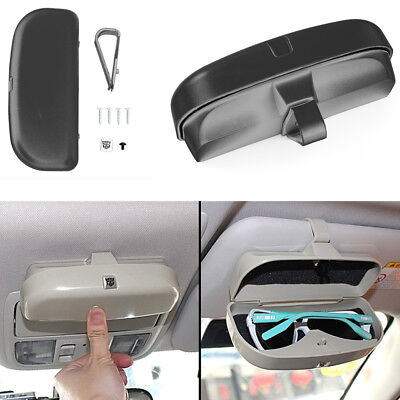 Universal Car Sunglasses Holder Case Storage Box Eye Glasses Box with Card Holder for Sun Visor BestTeam Car Sun Visor Glasses Box Beige