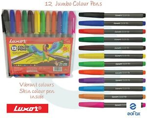 12 Jumbo Assorted Colours Fibre Pens
