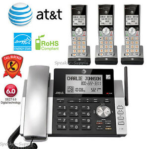 AT&T 3 Handset Corded Cordless Answering System w/ Call Block CL84215 + CL80115