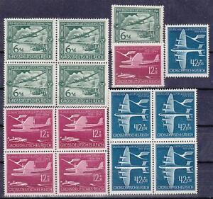 3rd-Reich-1944-Nazi-Germany-25-Years-of-Airmail-Service-Blocks-MNH