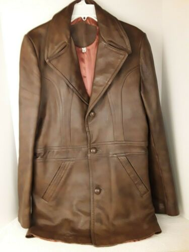 Mens Genuine Brown Leather Coat Fitted Retro 70's… - image 1