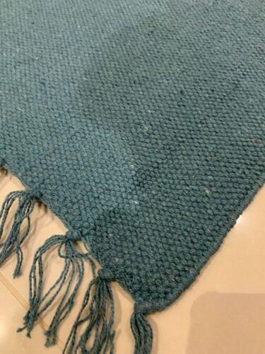 Eco Friendly Foncé Bleu Sarcelle Coton Recyclé riche réversible Lavable Durrie Rugs