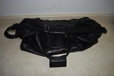 "Coach Large 22"" Black Leather Boston 2-Way Duffel Travel Bag w/ Shoulder Strap"