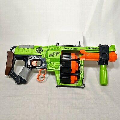 NERF Zombie Strike Doominator Foam Dart Blaster Green Orange Tested