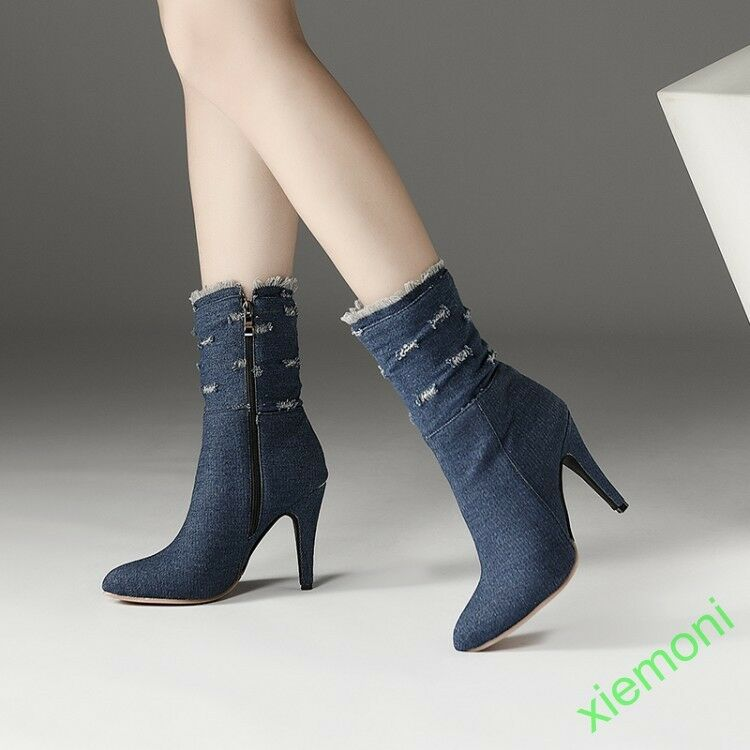 Women All UK Size 12 Zip Ankle Boot Denim Warm Winter Party High Slim Heel  New