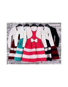 Girls-Skater-Plain-Long-Sleeve-Summer-Swing-Dress-Bolero-Bow-Dresses-Ages-2-13
