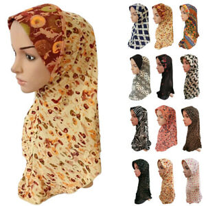 Muslim-Women-Hijab-Flower-Scarf-One-Piece-Shawl-Islamic-Amira-Arab-Cap-Wrap-Hats