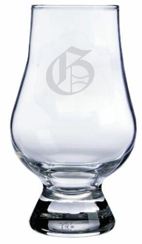 "Monogrammed Old English /""G/"" Engraved Glencairn Crystal Scotch Whisky Glass"