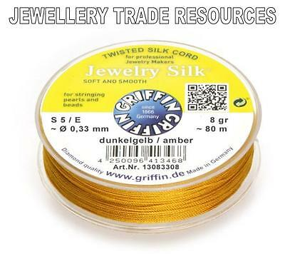 YELLOW SILK STRING THREAD 0.65mm STRINGING PEARLS /& BEADS GRIFFIN SIZE 5