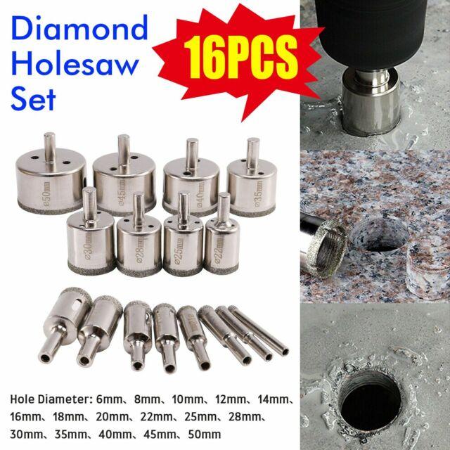 UK 16pcs Diamond Holesaw Hole Drill Bit Tile Ceramic Glass Marble Cutting Tools