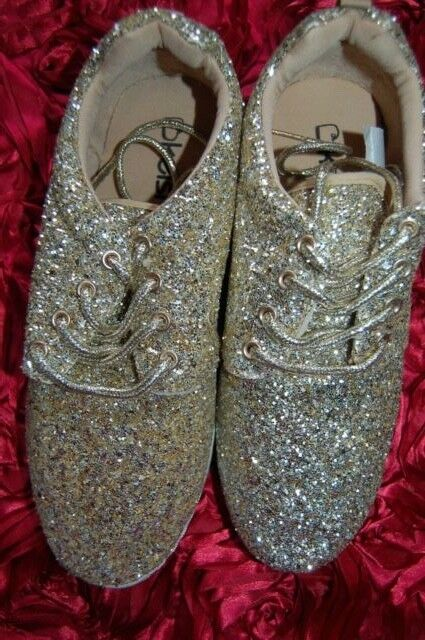 ???? Nouveau Uk 7 Gold Glitter Baskets Escarpins Blanc Semelle Souple Lacets Sur-trend Blogger