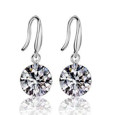 Fashionable Women 925 Silver Crystal Rhinestone Ear Hook Earrings Gift Christmas