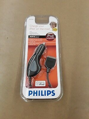 Philips Black 12V Car Power Charger for iPod Mini Nano MP3 Player Cable