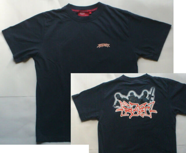 Herren T-Shirt AC//AB FCK CPS Army Retro Shirt Schwarz CPS Police Ultras Polizei