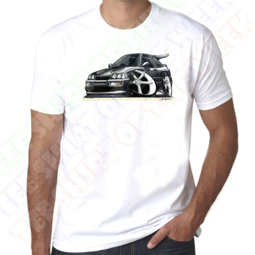WickedArtz Cartoon Car Black Ford RS Cosworth Mens 100/% Cotton White T-Shirt