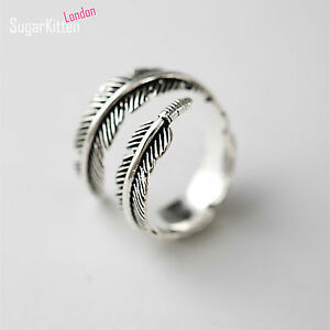 925-Silver-Adjustable-Mens-Womens-Feather-Angel-Finger-Stacking-Cuff-Ring-Boxed