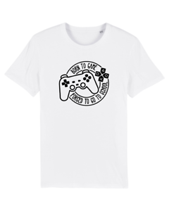 Kids Born To Game Forced To Go To School Gamer Funny Gaming Slogan T-Shirt Joke