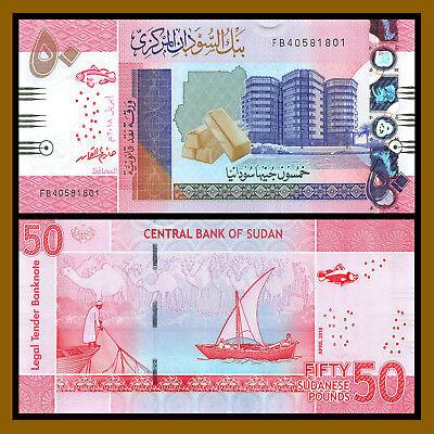 Sudan 50 Pounds p-new 2018 AUNC Banknote