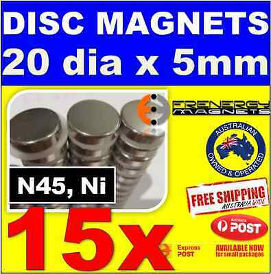 15x Super 20mm x 5mm N45 Neodymium Disc Magnets | Strong Rare Earth Whiteboard