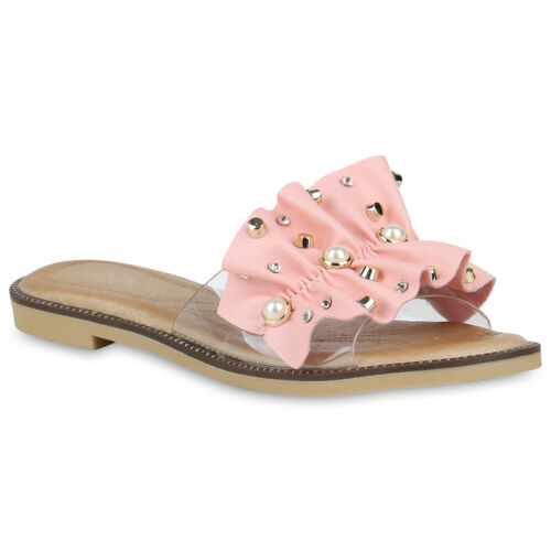 Damen Pantoletten Sandalen Nieten Strass Flats Metallic Schuhe 820600 Trendy Neu